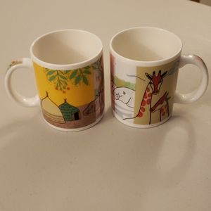 Starbucks 2001 Animal Set of 2 Coffee Cups